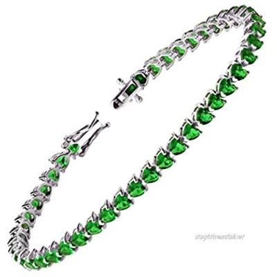 Franki Baker 925 & Sterling Silver Pretty Heart Shaped Emerald CZ Tennis Bracelet. Length: 19cm