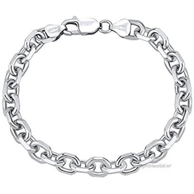 SILVEGO TTTB2204L Unisex 925 Sterling Silver Bracelet Anchor Thick 8 mm