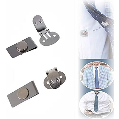 Invisible Magnetic Fixed Tie Stay Clips, Anti-Wrinkle Stainless Tie Stay Clips, Automatically Fixed Stainless Steel Metal Shirt Tie Clips for Men