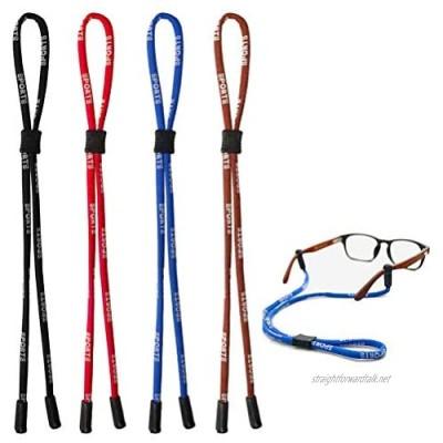 kuou 4 pcs Safety Glasses Strap Universal Fit Rope Sports Glasses String Adjustable Eyewear Strap Eyewear Holder Glasses Holder Lanyards for Men Women