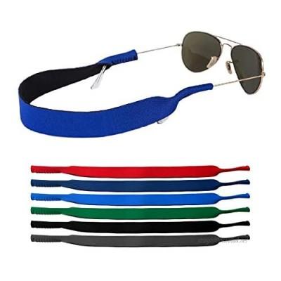 kuou 6 Pieces Neoprene Glasses Strap Elastic Floating Glasses Head Strap Eyewear Holder Cord Anti-Slip Sports Sunglasses Strap for Men Women Kids
