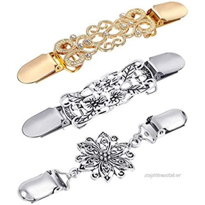 Dasing 3 Pieces Sweater Shawl Clips Dresses Cardigan Collar Brooch Clip Vintage Shirts Clips for Women Girls