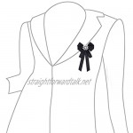 N A Rhinestone Brooch Pin Pre-Tied Ribbon Bow Collar Shirt Clip for Wedding Party Accessories (White)