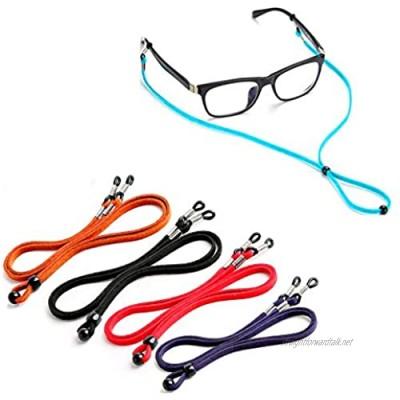 Eyeglasses Strap Cord Chain PU Leather Eyeglass Chain Eyeglass Cords Retainer Strap Cord Lanyard for Men Women Kids Adjustable Eyewear Retainer for Glasses Sunglasses Prescription Glasses (5Pcs)