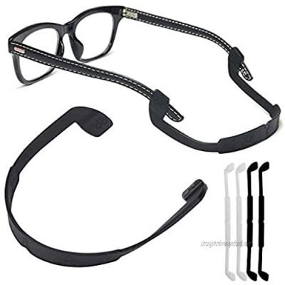 Silicone Eyeglass Strap Eyewear Retainers Sports Anti-Slip Elastic Glasses Sunglass Cord Holder for Men Women Eye Protection (4pcs/Pack[Black X 2 White X 2])