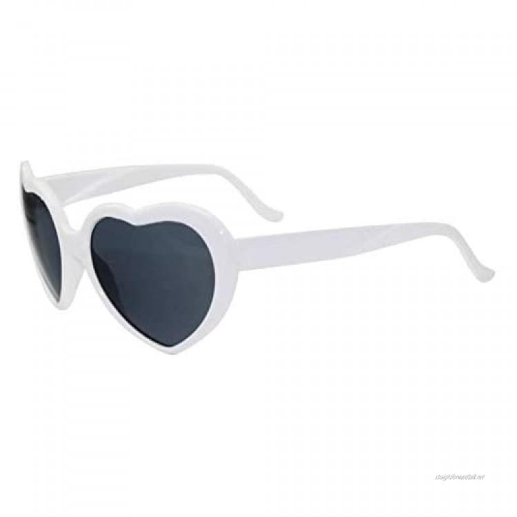 somubi Love Shaped Sunglasses For Women Man Vintage Cat Eye Mod Style Retro Glasses Heart Effect Diffraction Glasses Light Changing Eyewear 7 Colors