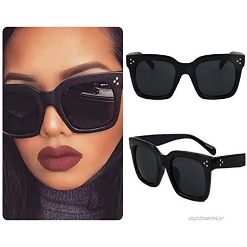 Black Square Sunglasses for Women Celeb Oversized Retro Vintage 2020 Ibiza Festival