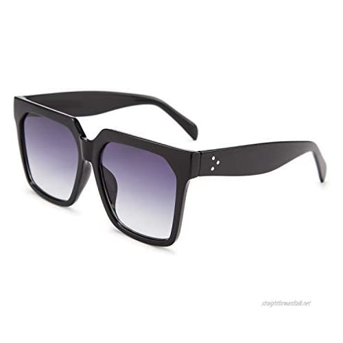 FEISEDY Oversized Sunglasses for Women Flat Top Square trendy Thick Rim Frame Shades UV400 B2585