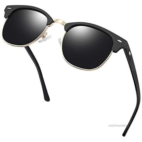 KANASTAL Semi-Rimless Polarised Sunglasses for Men Women Retro Horn Rimmed Womens Sunglasses UV Protection