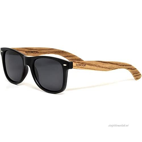 Sunglasses for Men and Women with Zebra Wooden Legs and Polarised Lenses GOWOOD
