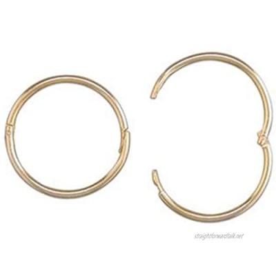 9ct Gold 15mm Mens Hinged Hoop 1 Sleeper Earring (ONE SINGLE MEN's EARRING)