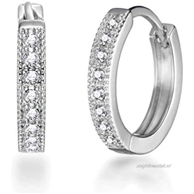 Silver Hoop Earrings Created with Austrian Crystals