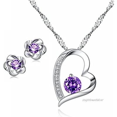 Besflily Women Girls Jewellery Sets Forever Love Heart Crystal Cubic Zirconia Pendant Necklace and Flower Stud Earring Sets