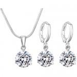 Fashion 925 Sterling silver women party pretty cute bracelet necklace set