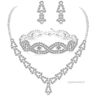 Milacolato Rhinestone Wedding Bridal Jewelry Set for Women Crystal Bracelet Necklace and Drop Earring Set for Wedding Gift