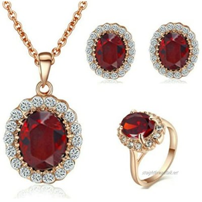 Yoursfs Red Ruby Jewellery Sets for Women Wedding 18ct Rose Gold Plated Crystal Pendant Necklace and Earrings and Ring Set