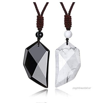 JOVIVI Healing Crystal Couples Heart Stone Pendants Necklaces His and Hers Matching Set for Women Men Black Obsidian White Howlite Yin Yang Love Hearts Chakra Gemstone Necklace