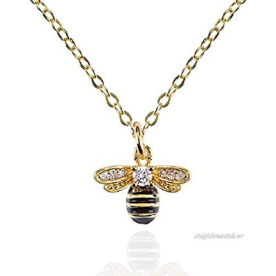 namana Bumble Bee Necklace for Women. Bee Pendant Necklace for Women and Girls with Cubic Zirconia and Black Enamel. Bumble Bee Jewelllery Gifts for Women