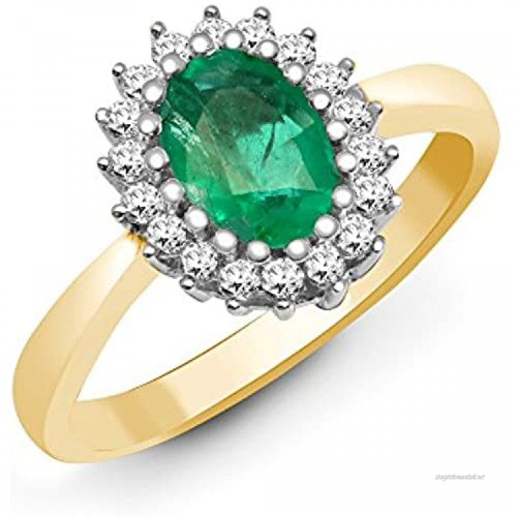 Jewelco London 9ct Yellow Gold H I2 0.23ct Diamond and Oval Green 0.78ct Emerald Classic Royal Cluster Ring 11mm Size