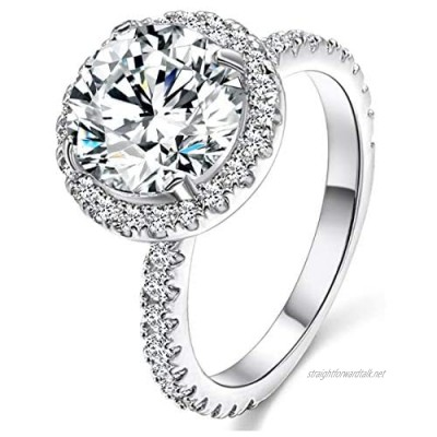 JIANGYUE 3 Carat Round Big Stone Solitaire White Gold Plated Engagement Wedding Rings for Love for Women Halo Style Shining Classical Ladies Mother's Day Gift Jewellery Size 5 6 7 8 9 10