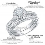 SHELOVES 925 Sterling Silver Wedding Rings for Women Round Cut White AAAAA Cubic Zirconia Cz Engagement Ring Band Set Size J 1/2-T 1/2